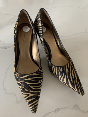 Nine West - Brown & Tan Zebra Print Heels - Size 10