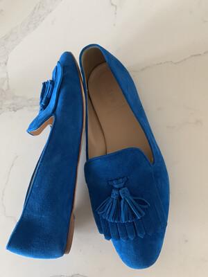 J. Crew Blue Suede Tassel Loafers - Size 9.5
