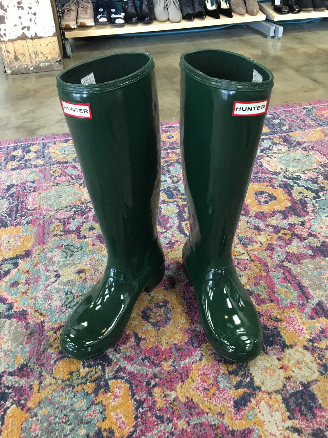 Hunter Green Rain Boots - Size 9