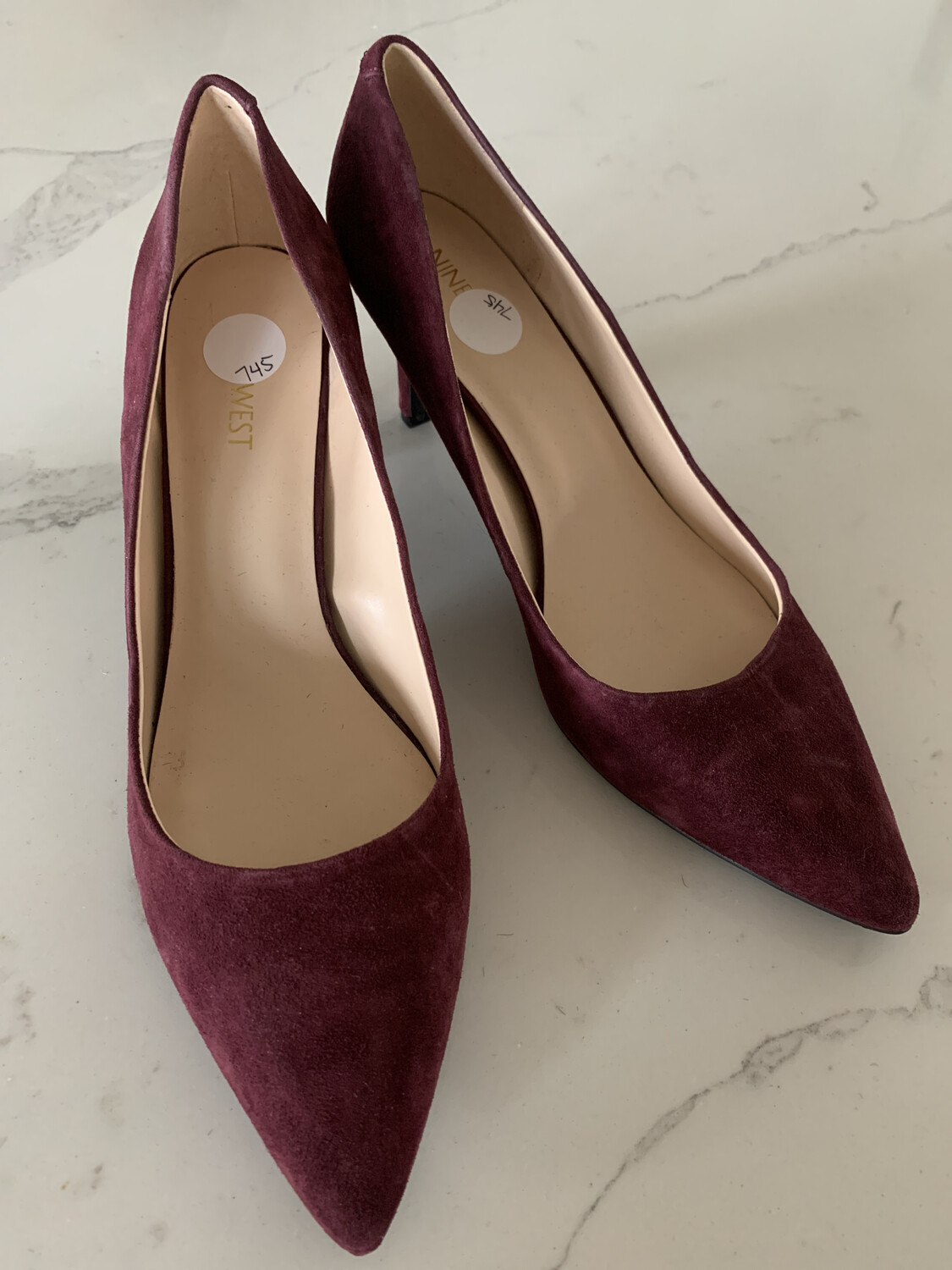 Nine West Wine Suede Heels - Size 10