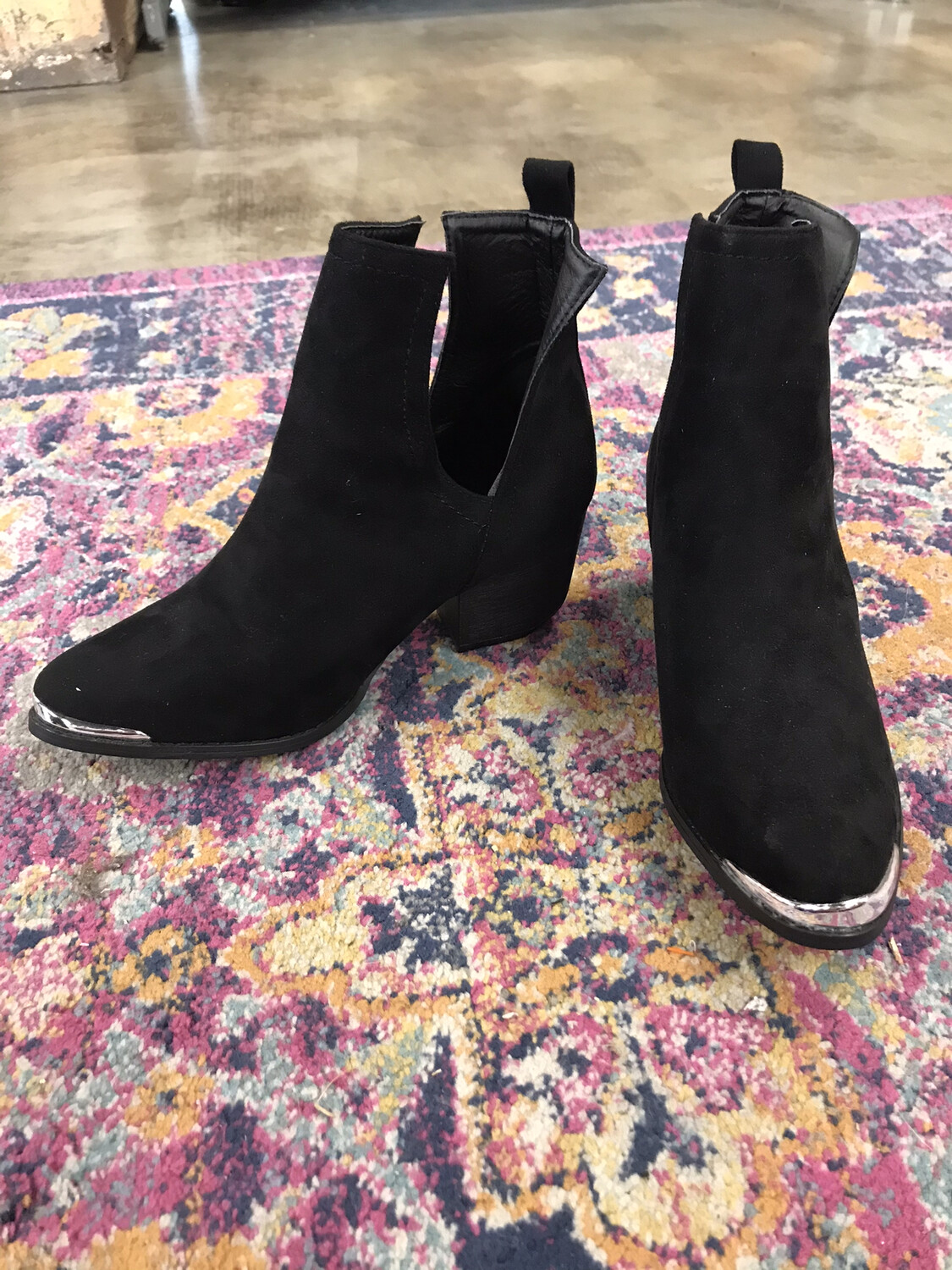 J. Adams - Black Booties with Silver Toe - Size 9