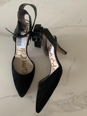 Sam Edelman Black Suede Ankle Strap Heels - Size 9.5