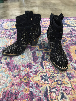 Gianni Bini Black Booties with Gold Studs - Size 10