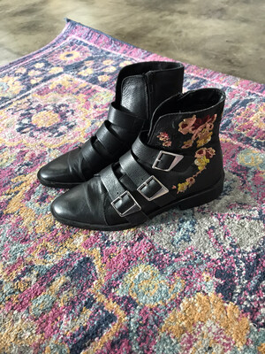 Zara|trafuluc Black Floral Booties - Size 7.5