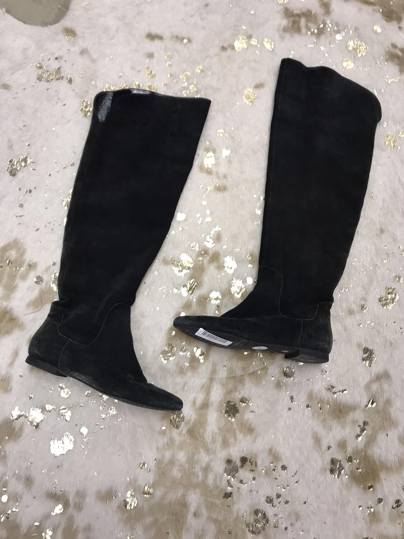 Gianni Bini Black Suede Flat Boots - Size 8