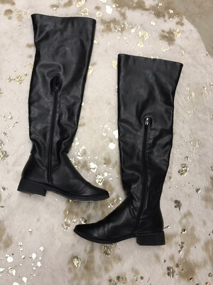Bamboo Black Tall Boots - Size 8