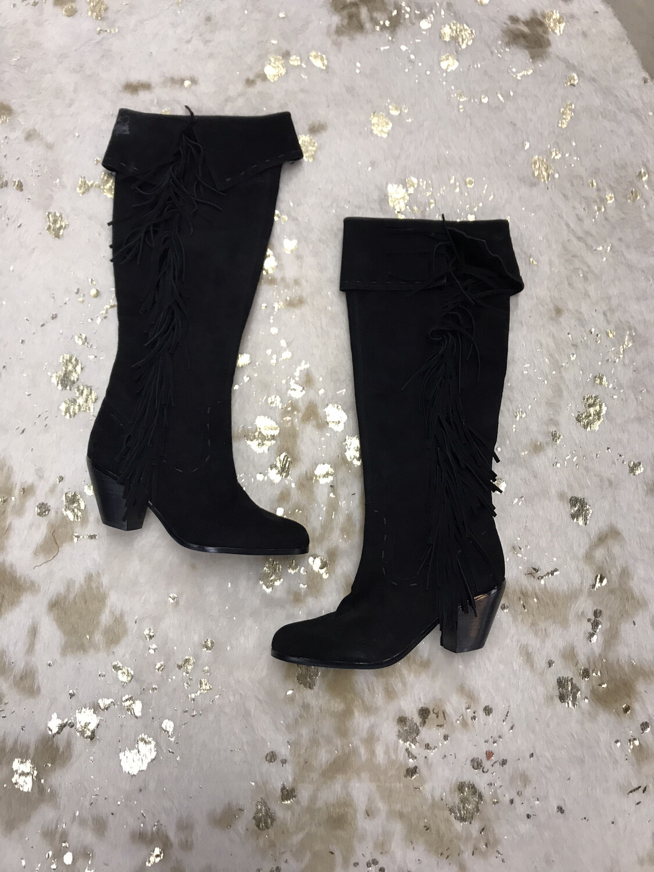 Sam Edelman Black Fringe Boots - Size 8