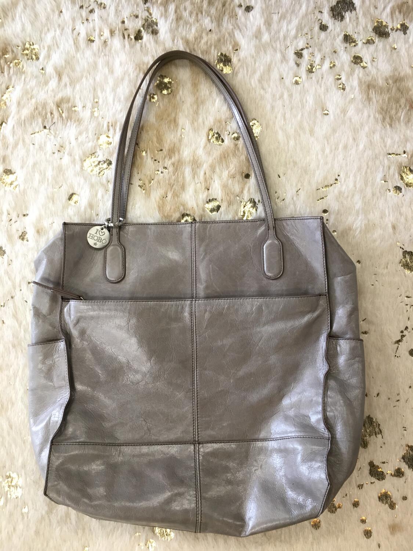 Hobo Grey Leather Shoulder Bag