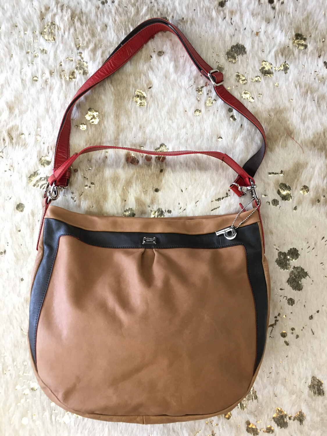 Picard Brown Handbag with Red Strap