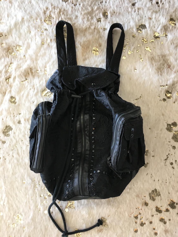 Biya Johnny Was Black Embroidered Backpack