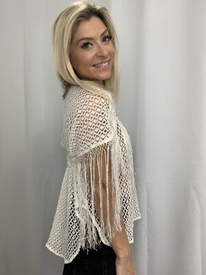 Free People White Lace Fringe Top - S