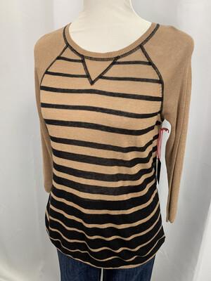 Cynthia Rowley Tan & Black Striped Sweater - S