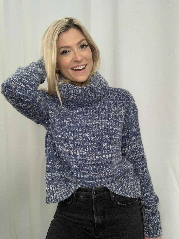 Lou & Grey Blue Turtle Neck Sweater - S