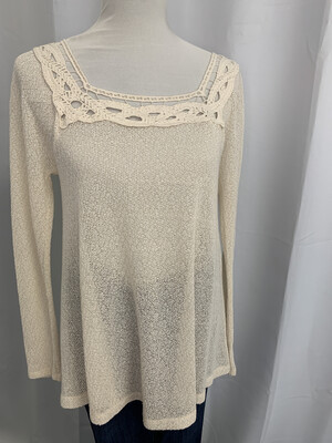 Staccato Cream Top with Lace Trim - S