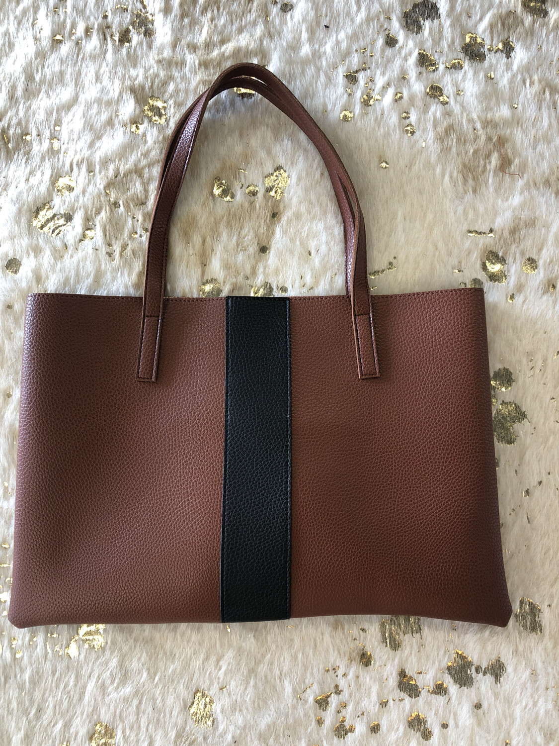 Vince Camuto Brown with Black Stripe Tote
