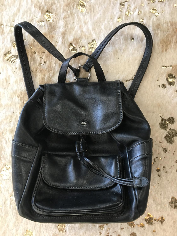 The Bridge Black Leather Backpack