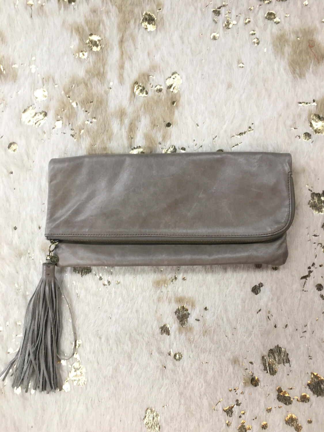 Hobo Taupe Fold Over Leather Clutch