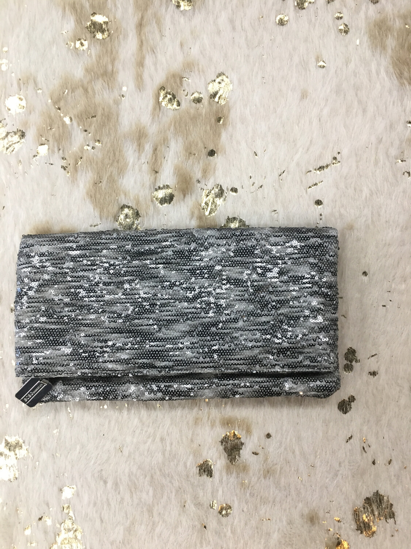BCBG Silver Sequin Clutch