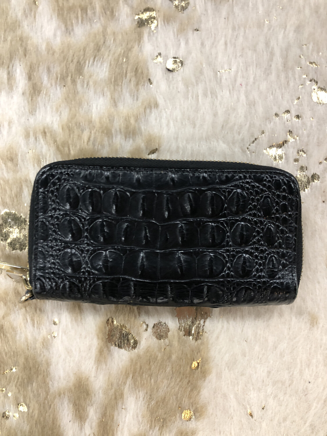 Brahmin Black Double Zip Wallet