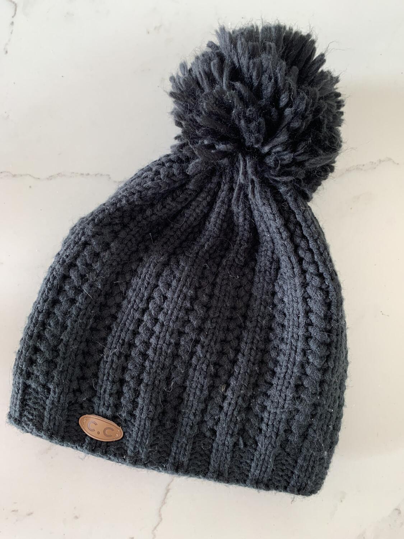 C.C. Black Winter Pom Beanie