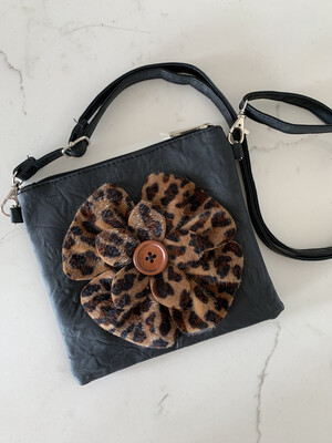SAX Black Purse w/ Leopard Button Flower
