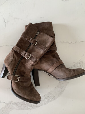 J. Crew Brown Suede Midi Buckle Boots - Size 9.5