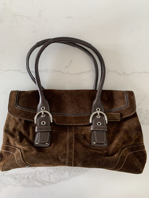 Coach Brown Suede Double Strap Handbag