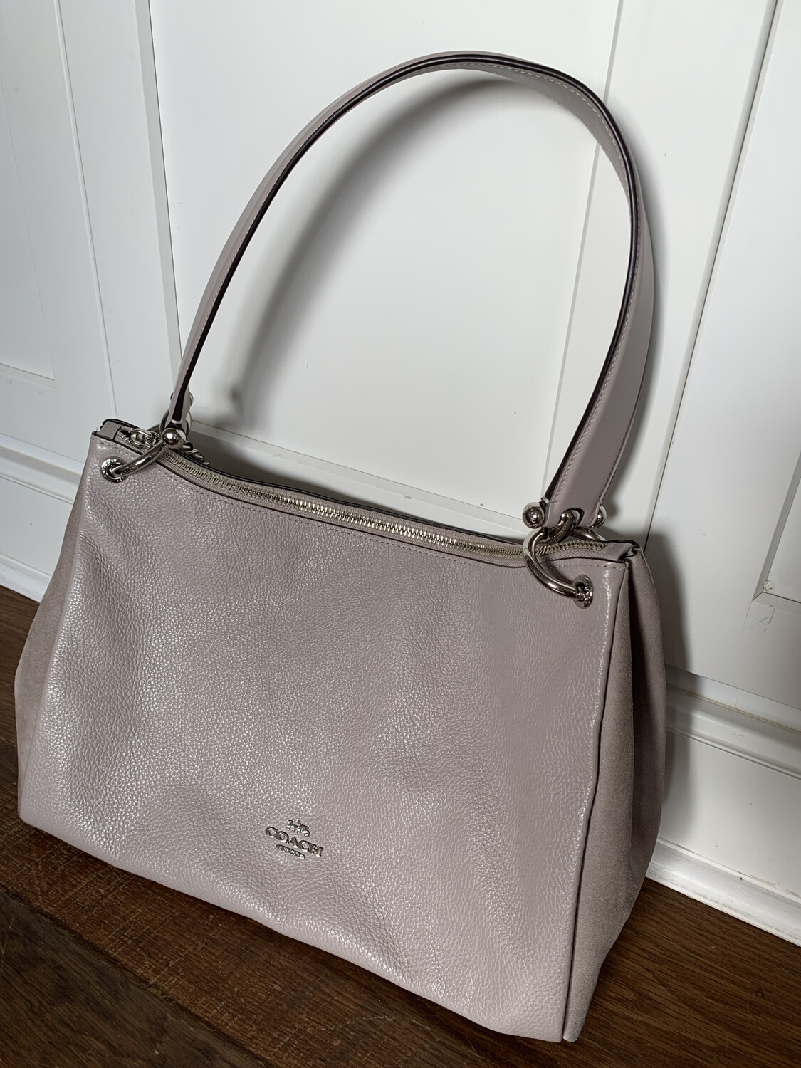 Coach Taupe Pebbled Leather & Suede Side Handbag