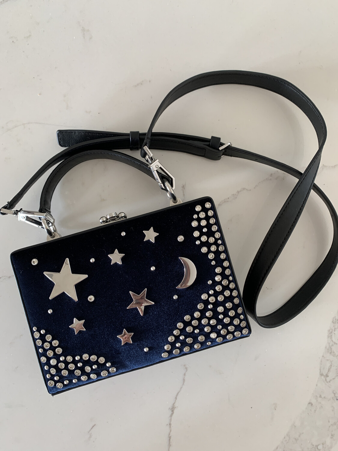 Nasty Gal Blue Velvet Moon & Star Purse
