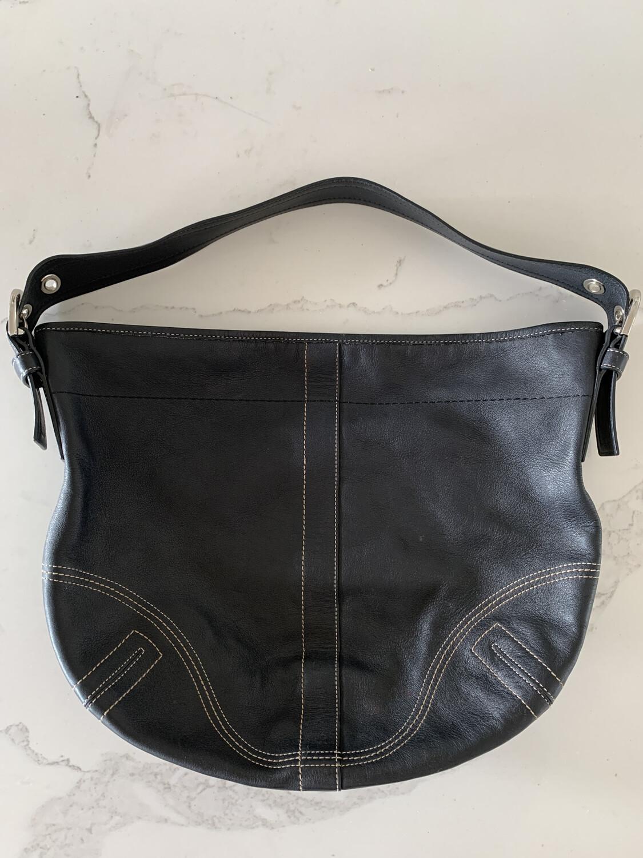 Coach Black Leather Single Strap Handbag