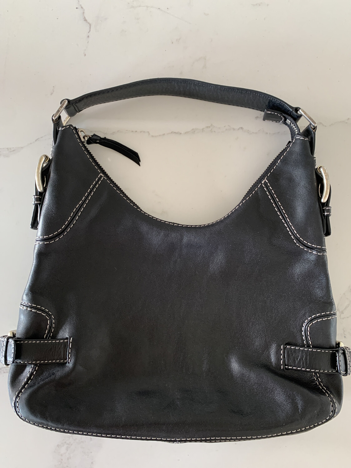 Michael Kors Black Leather Handbag w/ Silver Hardware