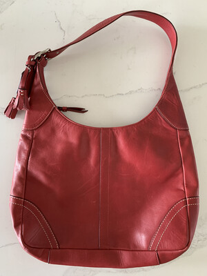 Coach Red Leather Single Strap Handbag