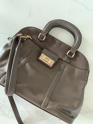 M&S Collection Brown Handbag w/ Gold Hardware