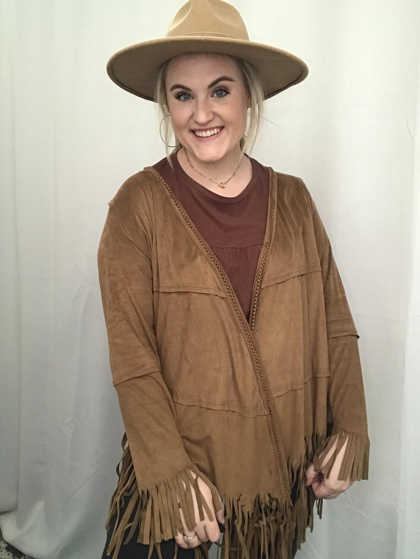 POL Brown Fringe Long Sleeve Jacket  - M