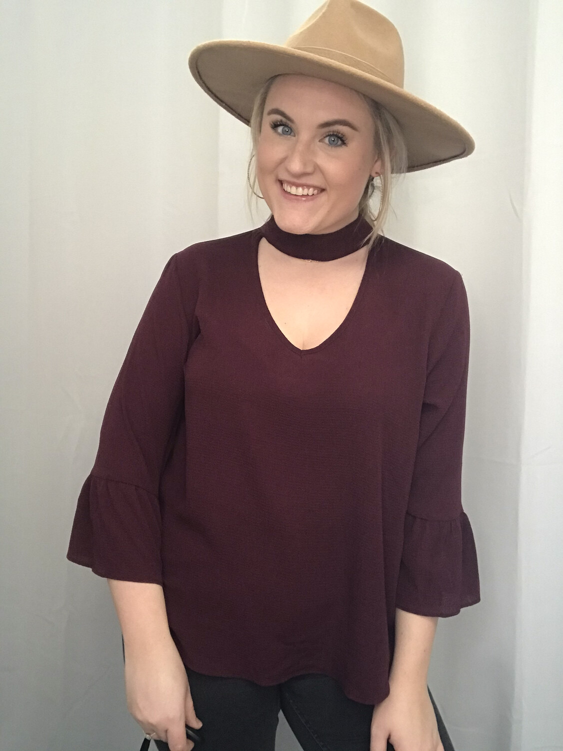 Moa Moa Wine Blouse with Cut Out Neck Line - M
