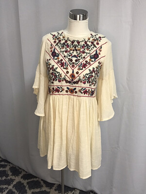Altar'd State Cream Floral Embroidered Dress - XS