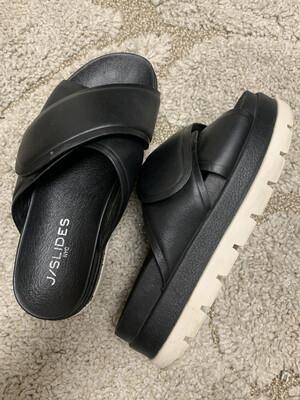 J/Slides Black Platform Velcro Slides - Size 6.5