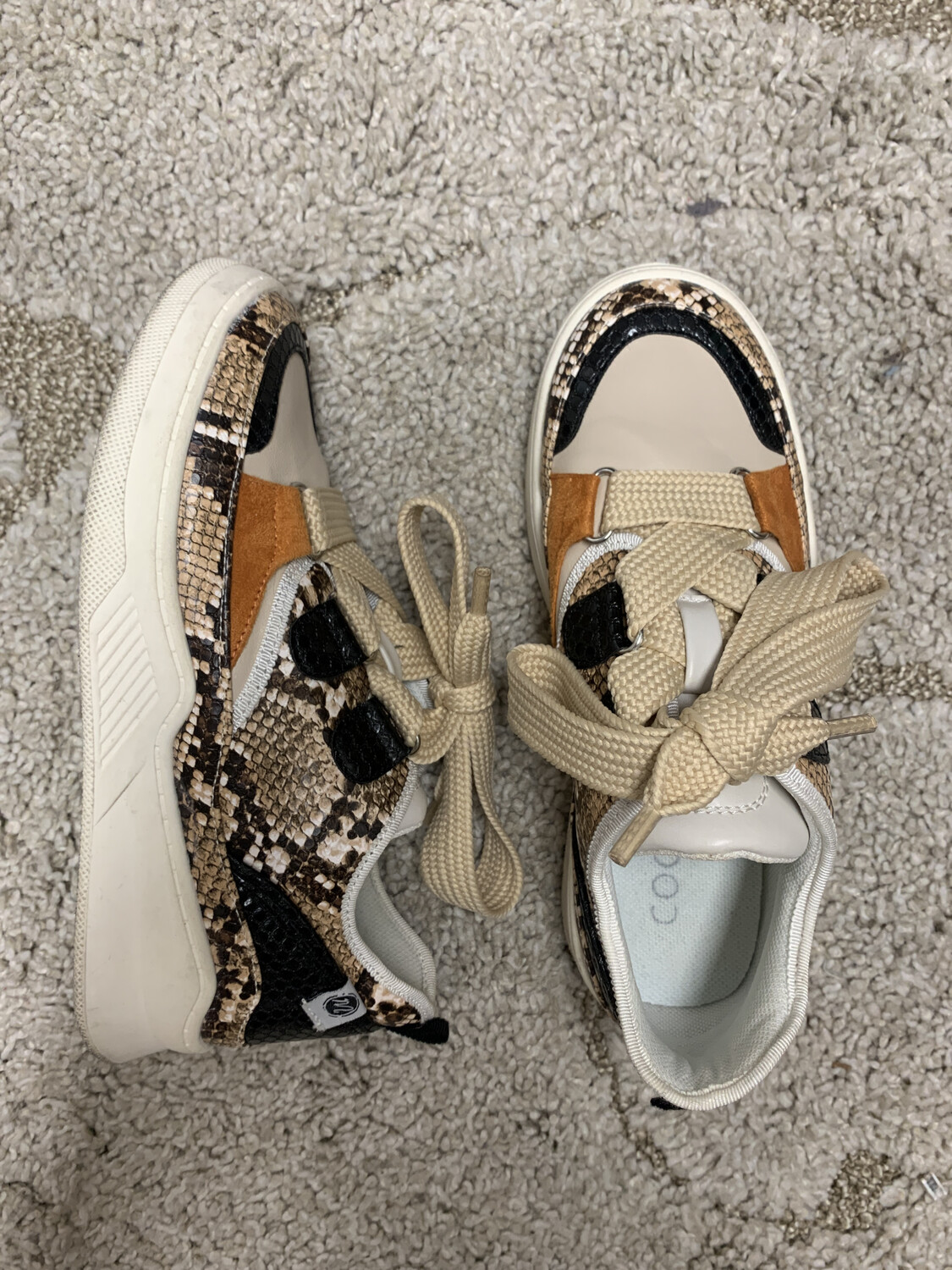 Coconuts by Matisse - Snakeskin Thick Lace Sneakers - Size 6