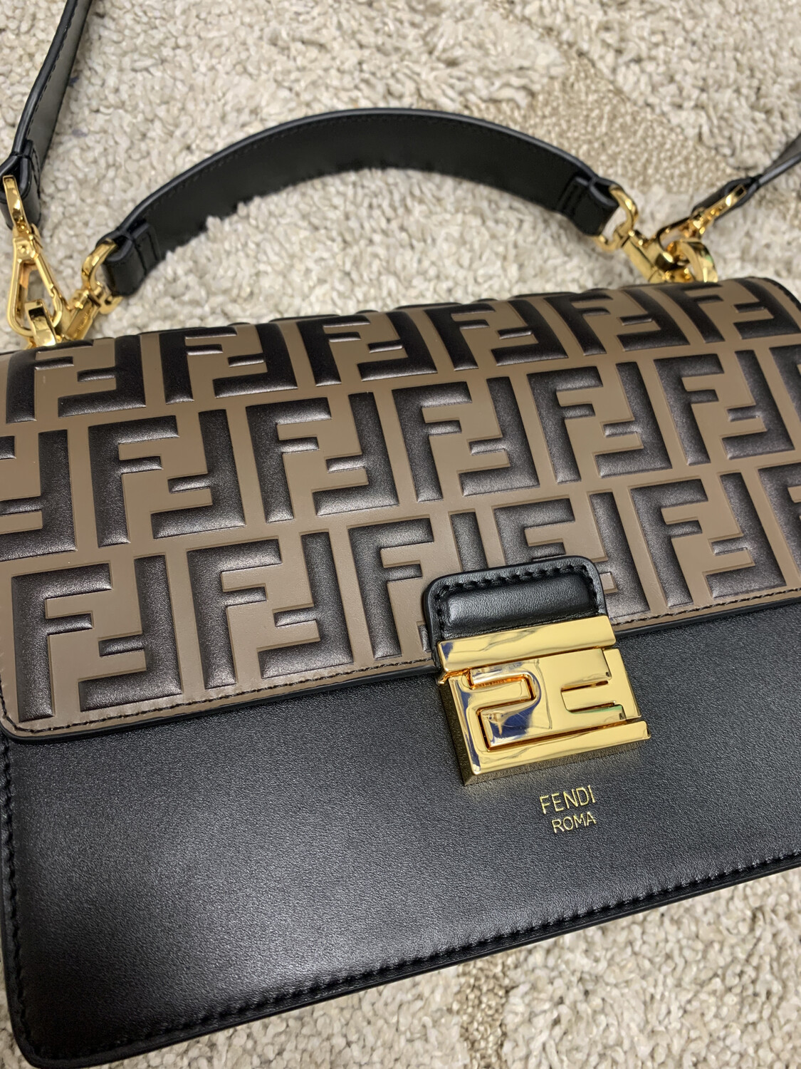 Fendi Black & Brown Dupe Crossbody