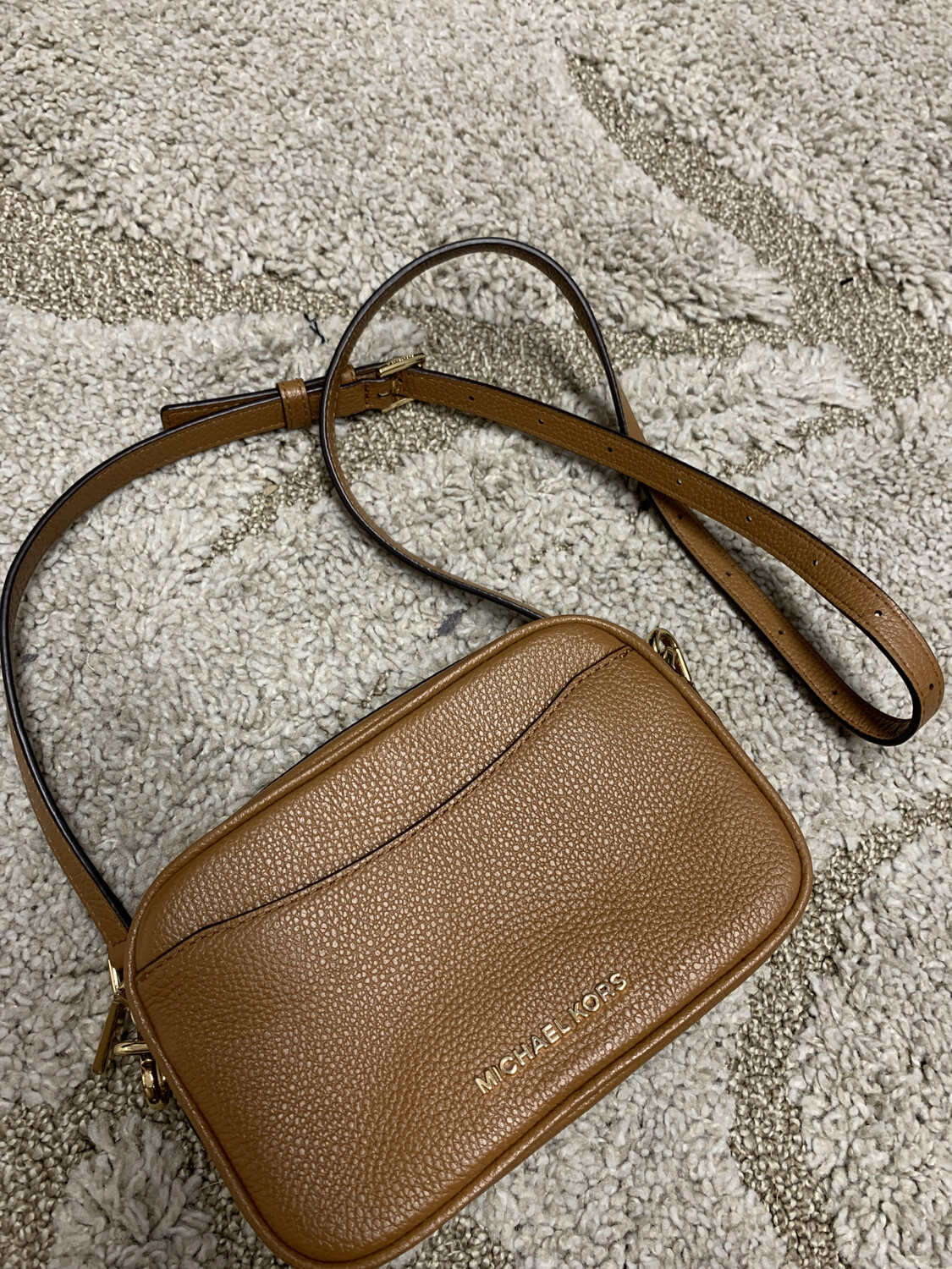 Michael Kors Brown Pebbled Leather Crossbody