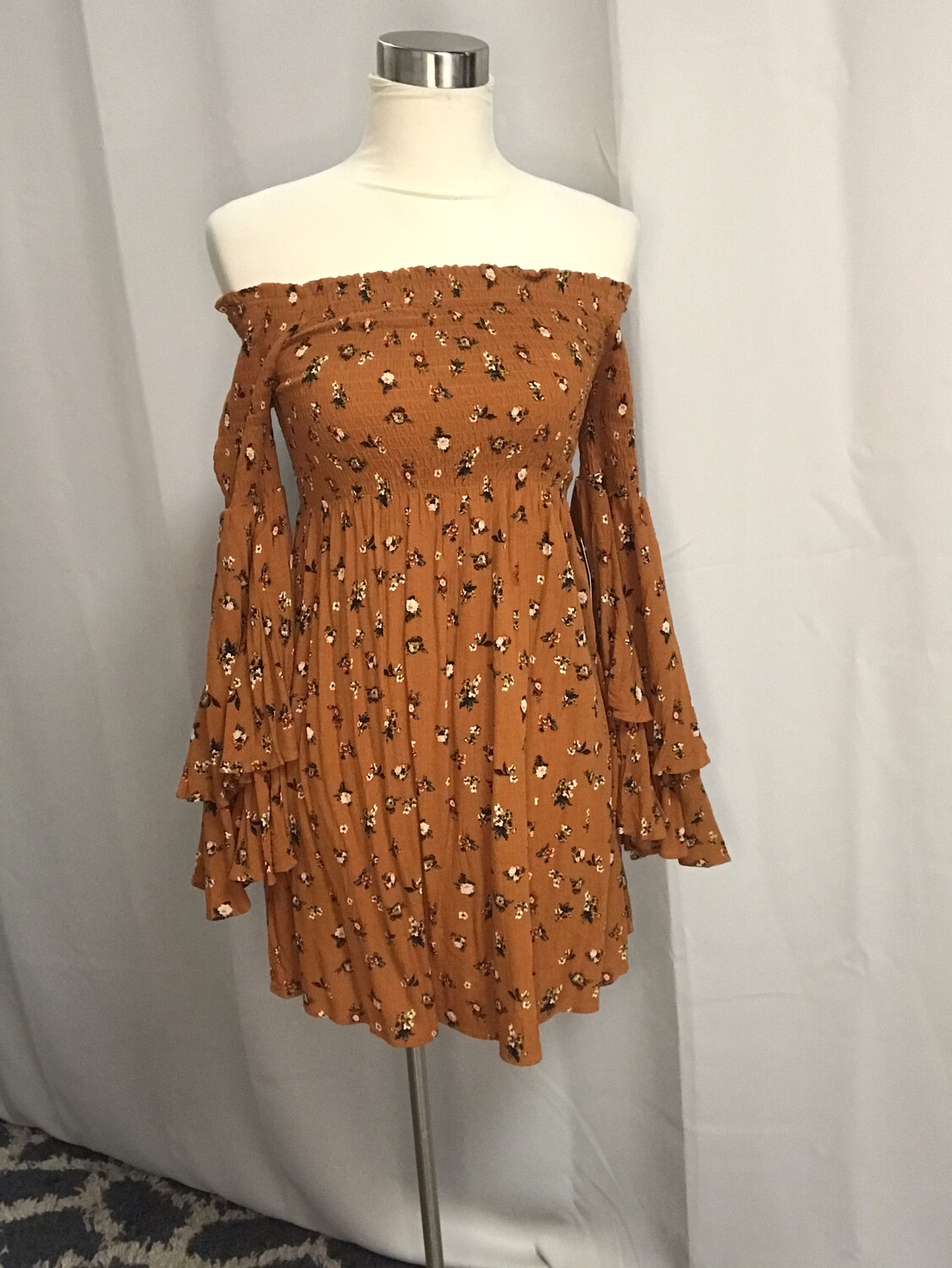 Love You Bunches Orange Floral Dress - S