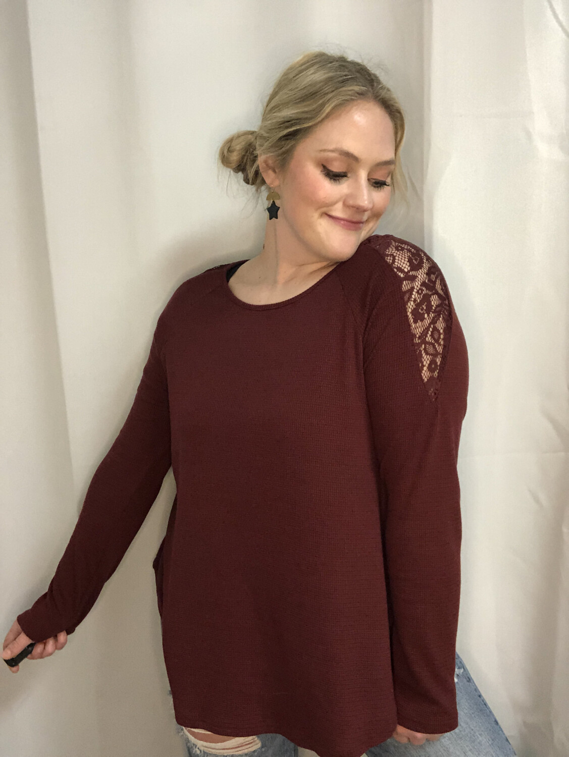 Umgee Wine Top with Lace Back - L