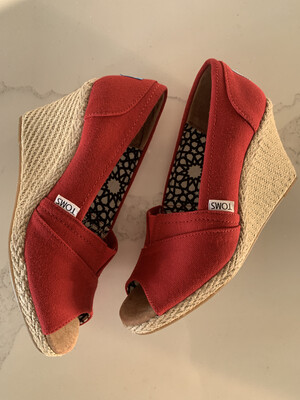 Toms Red Peep Toe Canvas Wedges - Size 7