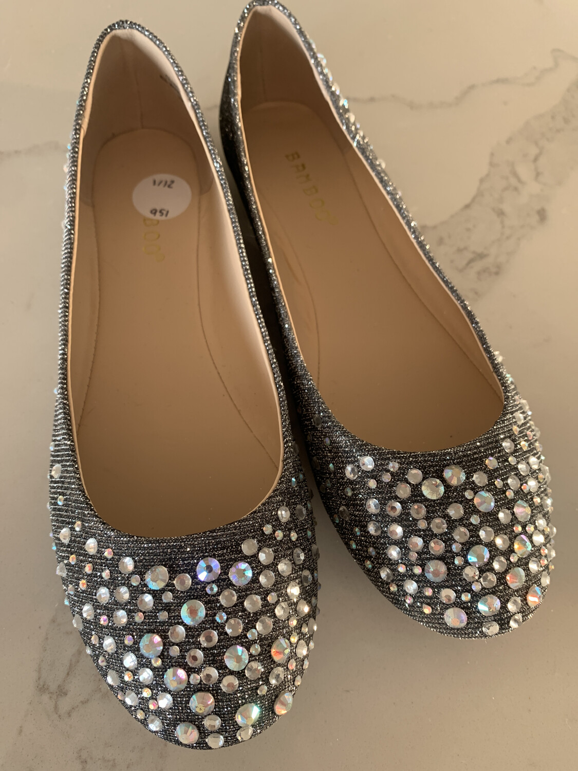 Bamboo Silver Beaded Flats - Size 7