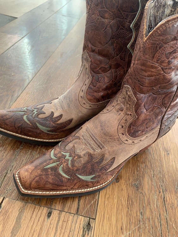 Ariat Dahlia Cognac Floral Cowgirl Boots - Size 7.5