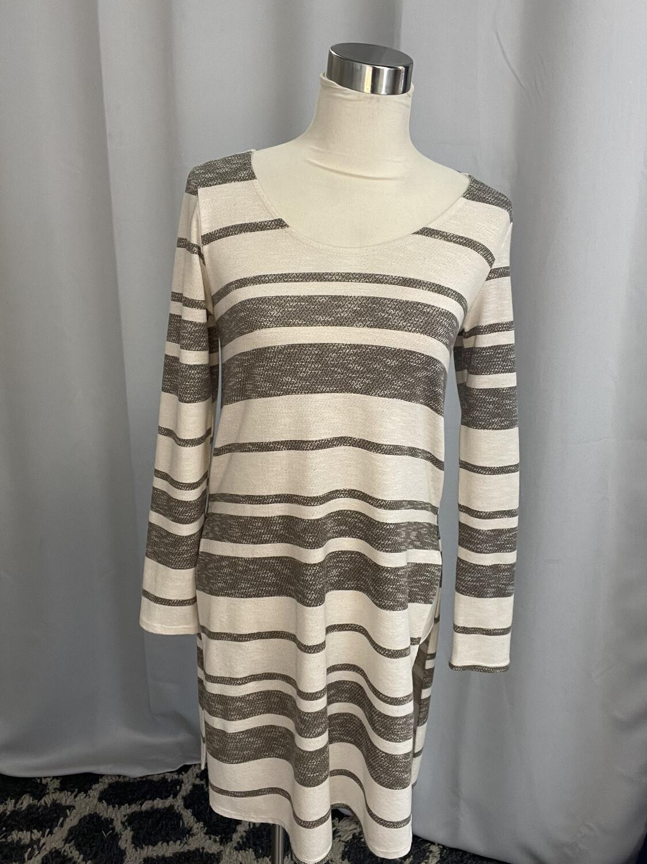 Anna Grace White & Gray Striped Tunic - S
