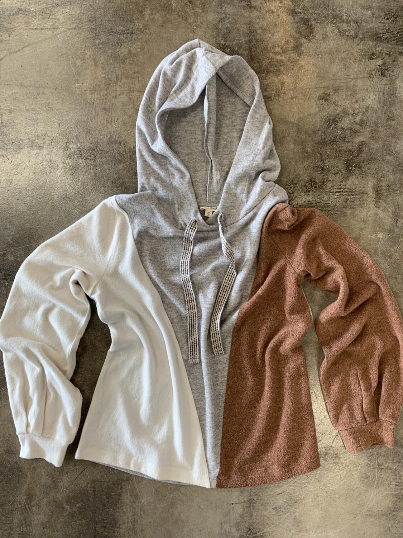 Hem & Thread Brown Grey & Cream Colorblock Hoodie - M