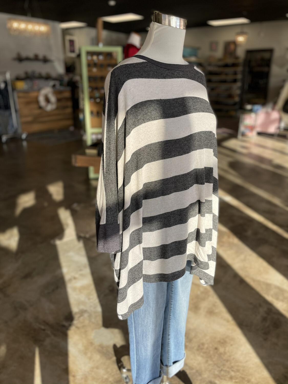 Cherish Grey & Cream Striped Top - L