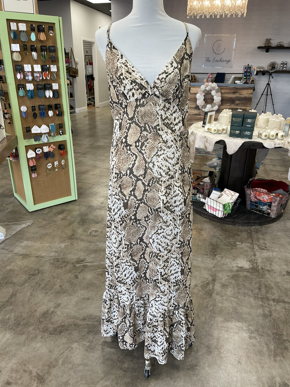 Blush Boutique Snakeskin Print Maxi Dress - L