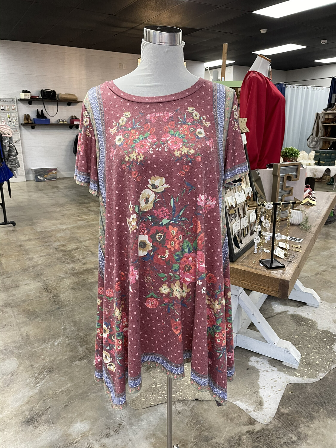 Umgee Faded Floral Handkerchief Dress - S